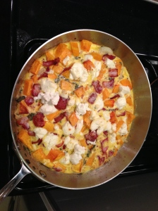 Seattle Sun~ Butternut Squash, Goat Cheese, Sage, & Bacon Frittata